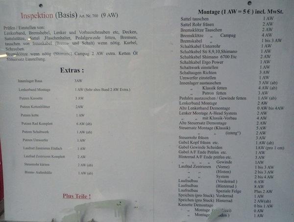 Preisliste Fahrradladen