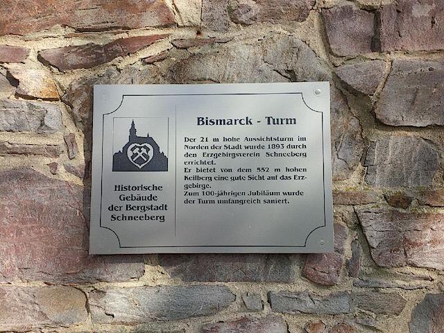 Bismarckturm Schneeberg Tafel